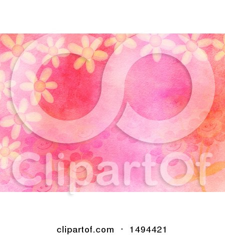Clipart of a Watercolor Flower Background - Royalty Free Illustration by Prawny