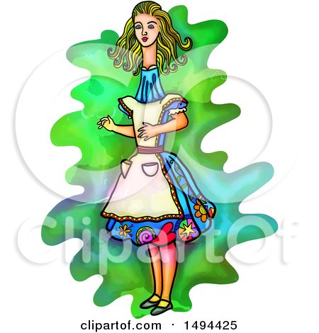 Clipart of a Watercolor Styled Alice in Wonderland with a Long Neck, on a White Background - Royalty Free Illustration by Prawny