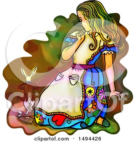Clipart of a Watercolor Styled Alice in Wonderland Scaring the Rabbit, on a White Background - Royalty Free Illustration by Prawny