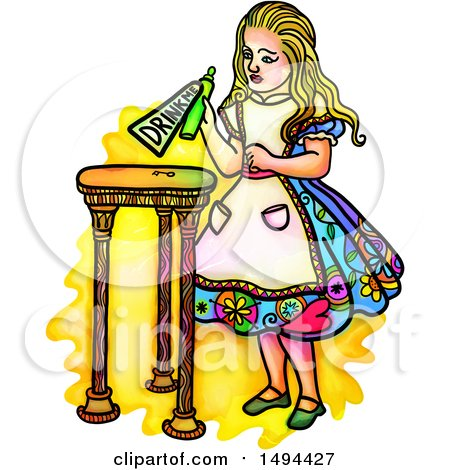 Clipart of a Watercolor Styled Alice in Wonderland Holding a Potion with a Drink Me Label, on a White Background - Royalty Free Illustration by Prawny