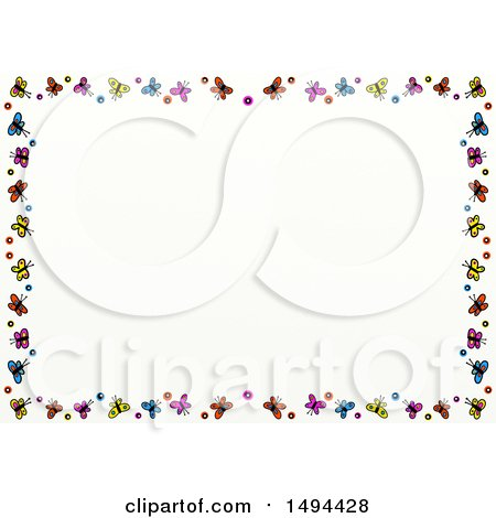 Clipart of a Doodled Border of Colorful Butterflies, on a White Background - Royalty Free Illustration by Prawny