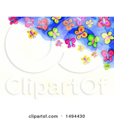 Clipart of a Watercolor Border of Butterflies, on a White Background - Royalty Free Illustration by Prawny