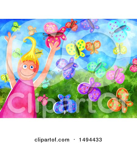Clipart of a Watercolor Happy Girl with Butterflies - Royalty Free Illustration by Prawny