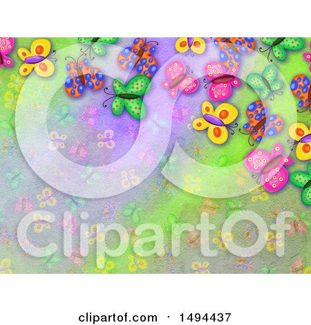Clipart of a Watercolor Butterfly Background - Royalty Free Illustration by Prawny