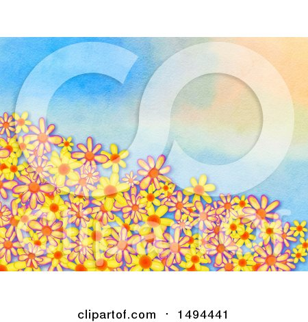 Clipart of a Watercolor Flower Border - Royalty Free Illustration by Prawny