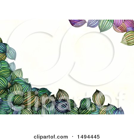 Clipart of a Border of Watercolor Styled Leaves, on a White Background - Royalty Free Illustration by Prawny
