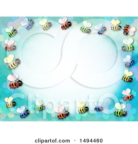 Clipart of a Border of Bees on a Blue Background - Royalty Free Illustration by Prawny