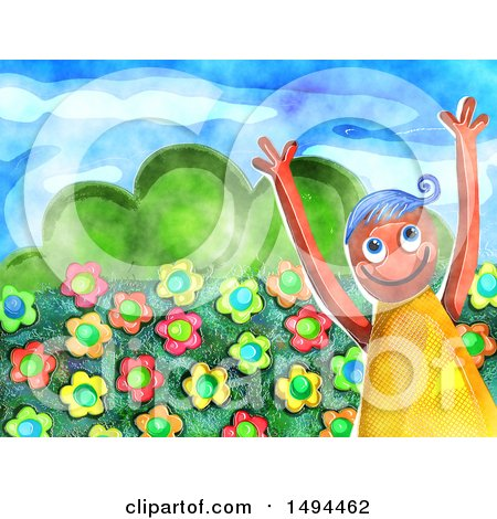 Clipart of a Watercolor Happy Boy with Flowers - Royalty Free Illustration by Prawny