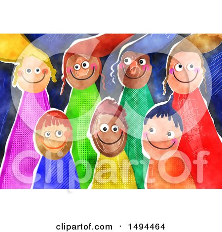Clipart of a Group of Watercolor Happy Children - Royalty Free Illustration by Prawny