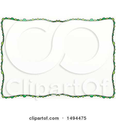 Clipart of a Doodled Border of Green Scales or Scallops, on a White Background - Royalty Free Illustration by Prawny