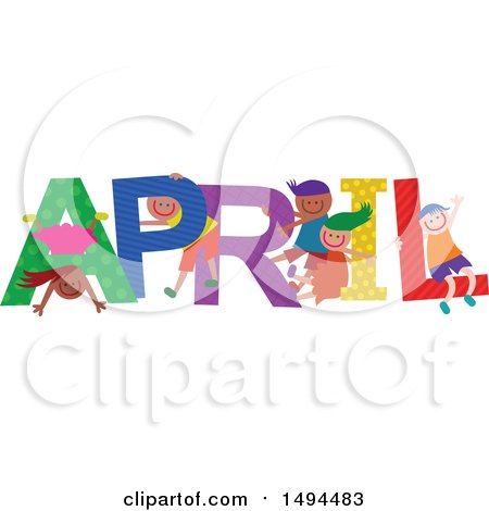 Clipart of a Group of Children Playing in the Colorful Word for the Month of April - Royalty Free Vector Illustration by Prawny