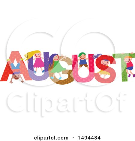 Clipart of a Group of Children Playing in the Colorful Word for the Month of August - Royalty Free Vector Illustration by Prawny