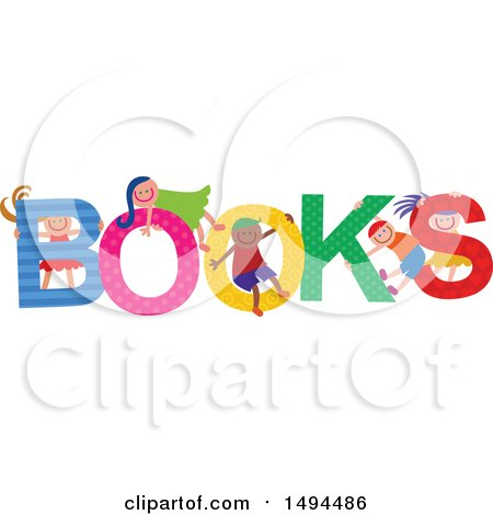 Clipart of a Group of Children Playing in the Colorful Word Books - Royalty Free Vector Illustration by Prawny