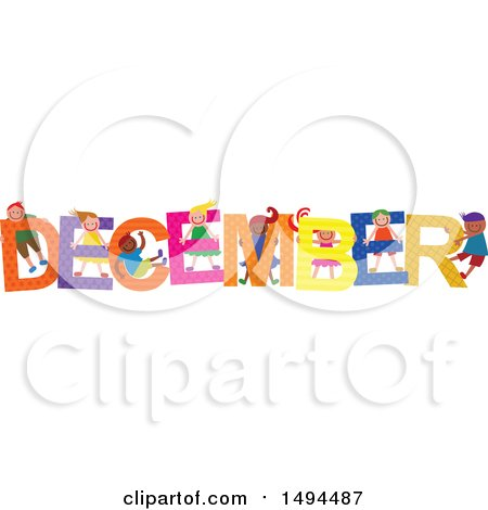 Clipart of a Group of Children Playing in the Colorful Word for the Month of December - Royalty Free Vector Illustration by Prawny