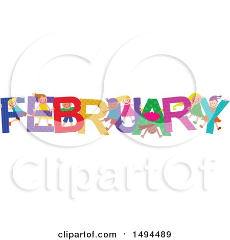 Clipart of a Group of Children Playing in the Colorful Word for the Month of February - Royalty Free Vector Illustration by Prawny
