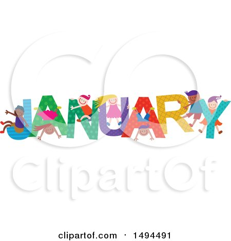 Clipart of a Group of Children Playing in the Colorful Word for the Month of January - Royalty Free Vector Illustration by Prawny