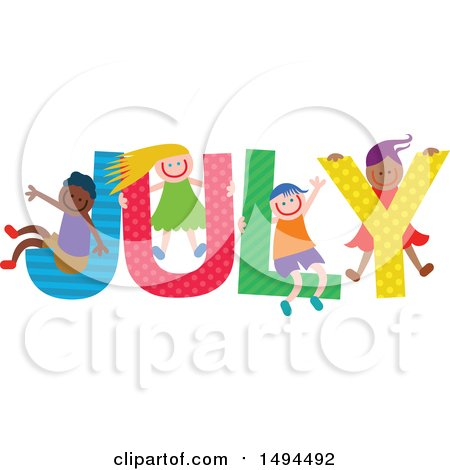 Clipart of a Group of Children Playing in the Colorful Word for the Month of July - Royalty Free Vector Illustration by Prawny