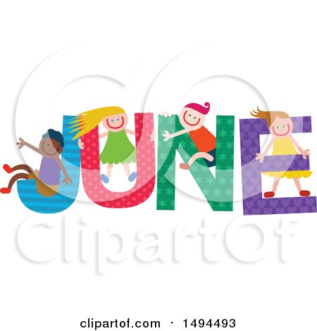 Clipart of a Group of Children Playing in the Colorful Word for the Month of June - Royalty Free Vector Illustration by Prawny