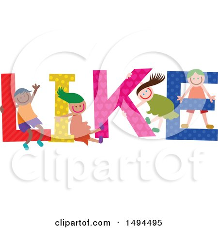 Clipart of a Group of Children Playing in the Colorful Word like - Royalty Free Vector Illustration by Prawny