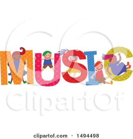 Clipart of a Group of Children Playing in the Colorful Word Music - Royalty Free Vector Illustration by Prawny