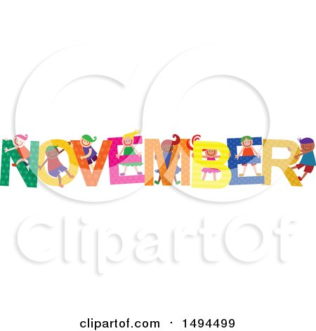 Clipart of a Group of Children Playing in the Colorful Word for the Month of November - Royalty Free Vector Illustration by Prawny