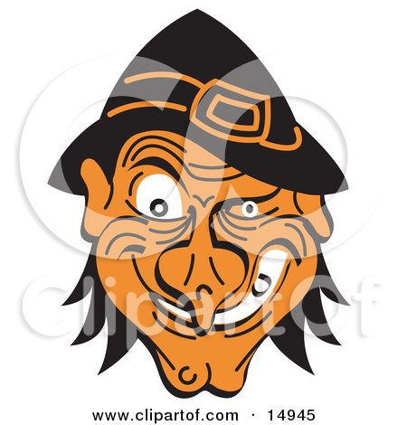 Evil Warty Halloween Witch's Face Grinning Clipart Illustration by Andy Nortnik