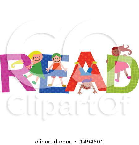 Clipart of a Group of Children Playing in the Colorful Word Read - Royalty Free Vector Illustration by Prawny