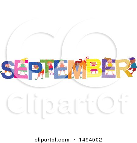 Clipart of a Group of Children Playing in the Colorful Word for the Month of September - Royalty Free Vector Illustration by Prawny