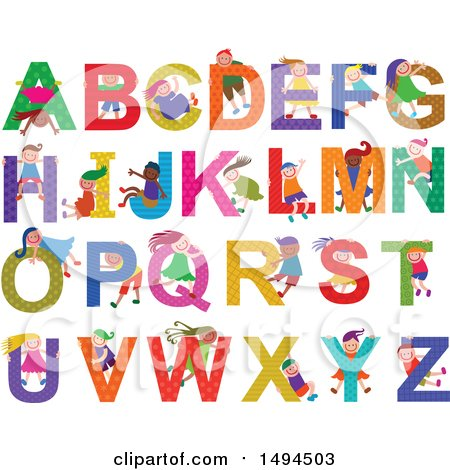 Clipart of a Group of Children and Capital Alphabet Letters - Royalty Free Vector Illustration by Prawny