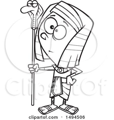 Clipart of a Cartoon Black and White Pharaoh Boy Holding a Snake Staff - Royalty Free Vector Illustration by toonaday