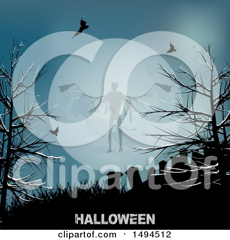 Clipart of a Demon Against a Full Moon Above a Cemetery with Halloween Text - Royalty Free Vector Illustration by elaineitalia