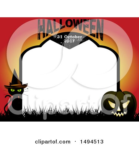 Clipart of a Halloween and Date Tombstone Border with a Witch Cat and Jackolantern - Royalty Free Vector Illustration by elaineitalia