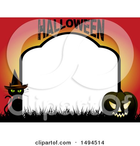 Clipart of a Halloween Tombstone Border with a Witch Cat and Jackolantern - Royalty Free Vector Illustration by elaineitalia