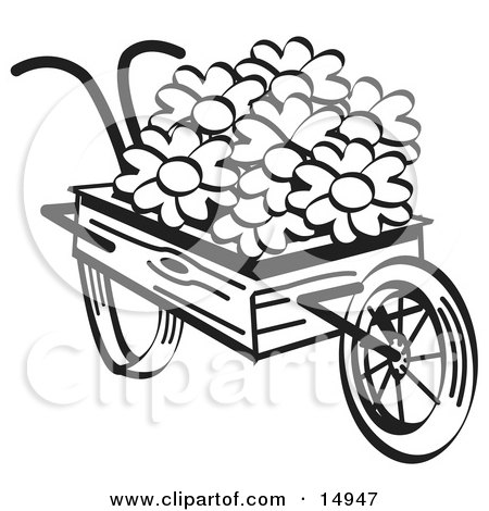 Old Fashioned Wooden Wheelbarrow With Pretty Daisy Flowers On Easter, Black and White Clipart Illustration by Andy Nortnik