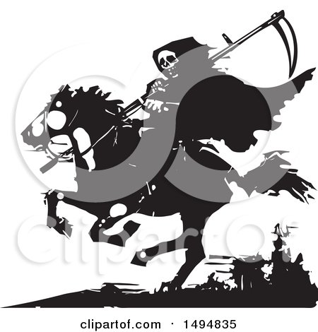 Clipart of a Grim Reaper on Horseback, in Black and White Woodcut Style - Royalty Free Vector Illustration by xunantunich