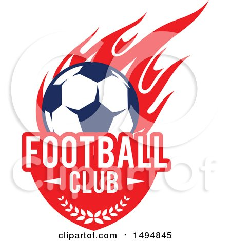 Clipart of a Soccer Ball with Text and Red Flames - Royalty Free Vector Illustration by Vector Tradition SM