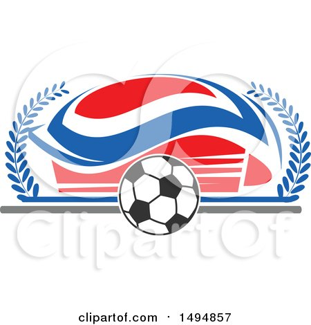 Clipart of a Soccer Ball and Arena - Royalty Free Vector Illustration by Vector Tradition SM