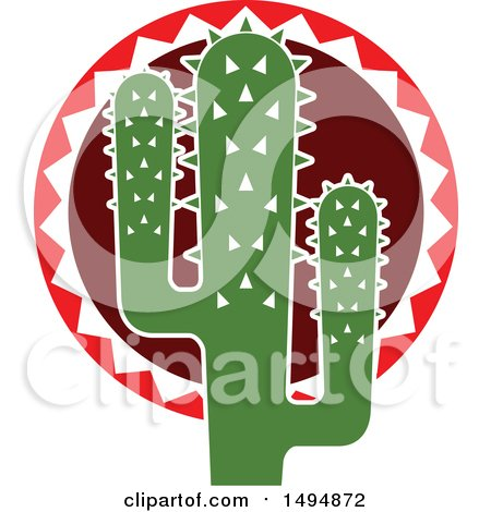 Clipart of a Mexican Themed Cactus - Royalty Free Vector Illustration by Vector Tradition SM