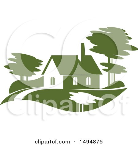 Clipart of a Green Home Design - Royalty Free Vector Illustration by Vector Tradition SM