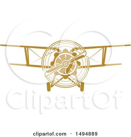Clipart of a Vintage Biplane - Royalty Free Vector Illustration by Vector Tradition SM