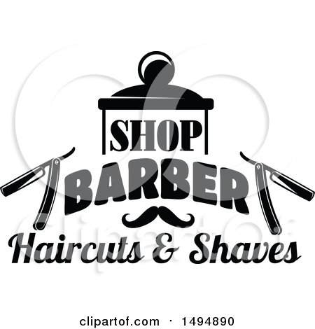 Clipart Of A Black And White Barber Shop Design With Text