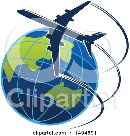 Clipart of a Commercial Airliner Circling Planet Earth - Royalty Free Vector Illustration by Vector Tradition SM