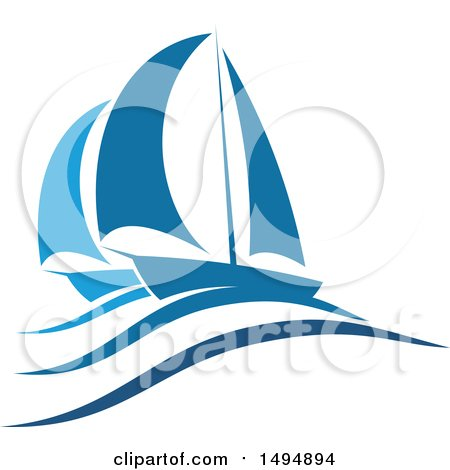 Clipart of a Blue Yacht Design - Royalty Free Vector Illustration by Vector Tradition SM