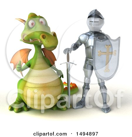 Clipart of a 3d Armored Knight and Green Dragon, on a White Background - Royalty Free Illustration by Julos