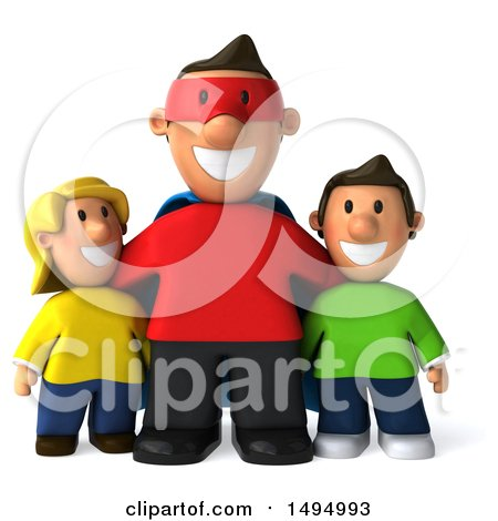 Clipart of a 3d Super Man or Dad with Kids, on a White Background - Royalty Free Illustration by Julos