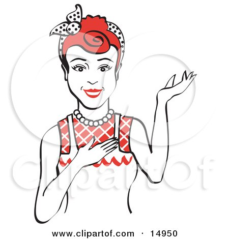 Friendly Red Haired Housewife, Waitress Or Maid Woman Wearing An Apron And Resting One Hand On Her Chest While Holding The Other Hand Up  Posters, Art Prints