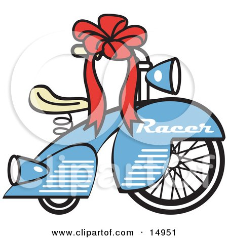 Brand New Blue Racer Tricycle Bike With A Red Ribbon In The Handlebars Retro Clipart Illustration by Andy Nortnik