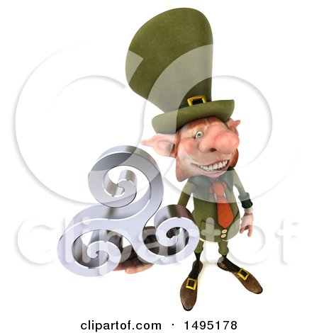 Clipart of a 3d Skinny Leprechaun, on a White Background - Royalty Free Illustration by Julos
