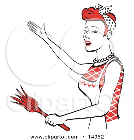 Happy Red Haired Housewife Or Maid Woman Wearing An Apron While Singing And Dancing And Using A Feather Duster Clipart Illustration by Andy Nortnik