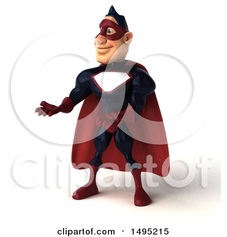 Clipart of a 3d Buff White Male Maroon Hero, on a White Background - Royalty Free Illustration by Julos